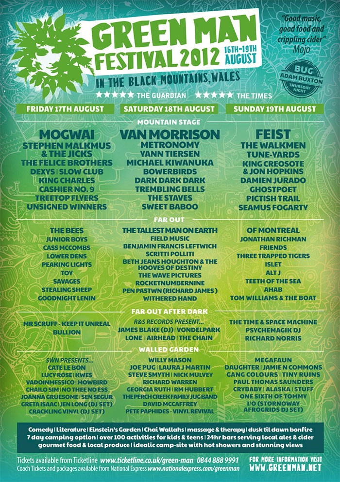 Line Up 2018 Green Man Festival